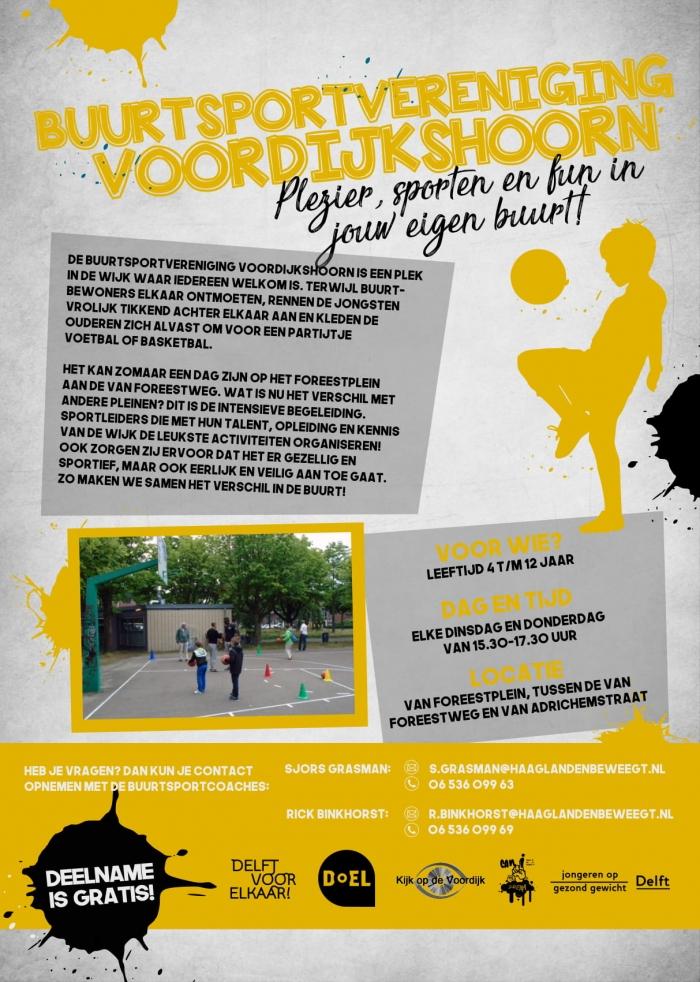 Vanaf dinsdag 20 maart start de Buurtsportvereniging Voordijkshoorn!